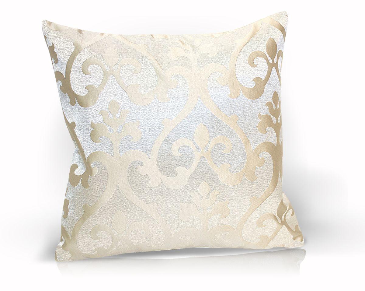 Подушка декоративная KauffOrt Флорентина, цвет: светло-бежевый, 40 x 40 см16056Декоративная подушка Флорентина прекрасно дополнит интерьер спальни или гостиной. Чехол подушки выполнен из жаккардовой ткани. Внутри находится мягкий наполнитель. Чехол легко снимается благодаря потайной молнии.