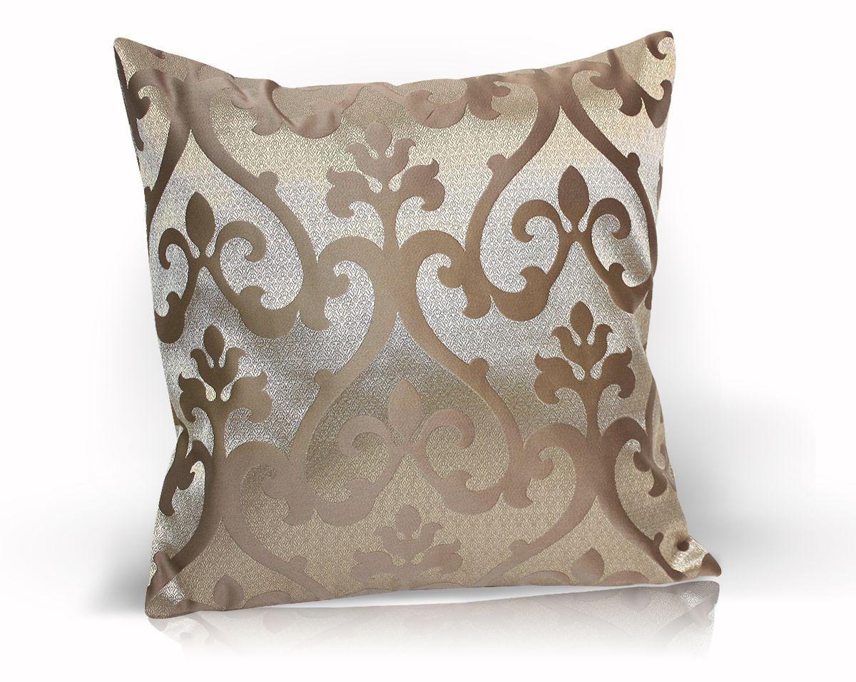 Подушка декоративная KauffOrt Флорентина, цвет: коричневый, 40 x 40 смS03301004Декоративная подушка Флорентина прекрасно дополнит интерьер спальни или гостиной. Чехол подушки выполнен из жаккардовой ткани. Внутри находится мягкий наполнитель. Чехол легко снимается благодаря потайной молнии.