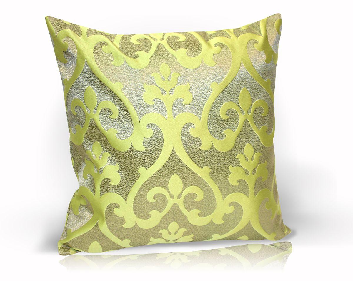Подушка декоративная KauffOrt Флорентина, цвет: оливковый, 40 x 40 см3121044680Декоративная подушка Флорентина прекрасно дополнит интерьер спальни или гостиной. Чехол подушки выполнен из жаккардовой ткани. Внутри находится мягкий наполнитель. Чехол легко снимается благодаря потайной молнии.