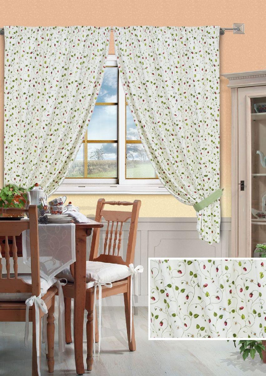 Комплект штор для кухни KauffOrt Флора, на ленте, высота 175 см. 39123098680956251325Комплект Kauffort Флора состоит из двух штор и двух подхватов. Шторы изготовлены из полотна с рисунком. Для придания изящного внешнего вида шторы присбориваются с помощью подхватов. Шторы оснащены шторной лентой для красивой сборки.