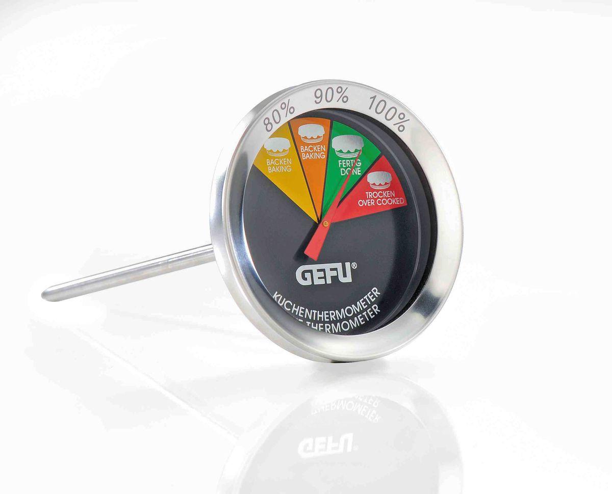 Термометр для выпечки Gefu68/5/2Термометр для выпечки позволит вам гарантированно добиться идеального выпекания пирогов, кексов, хлеба, ромовых баб и других изделий. Просто воткните щуп термометра в выпечку, когда консистенция изделия это позволит и выпекайте до готовности, согласно показаниям термометра. Длина щупа 10 см. Простой, легкий для чтения дисплей. Можно использовать в посудомоечной машине.