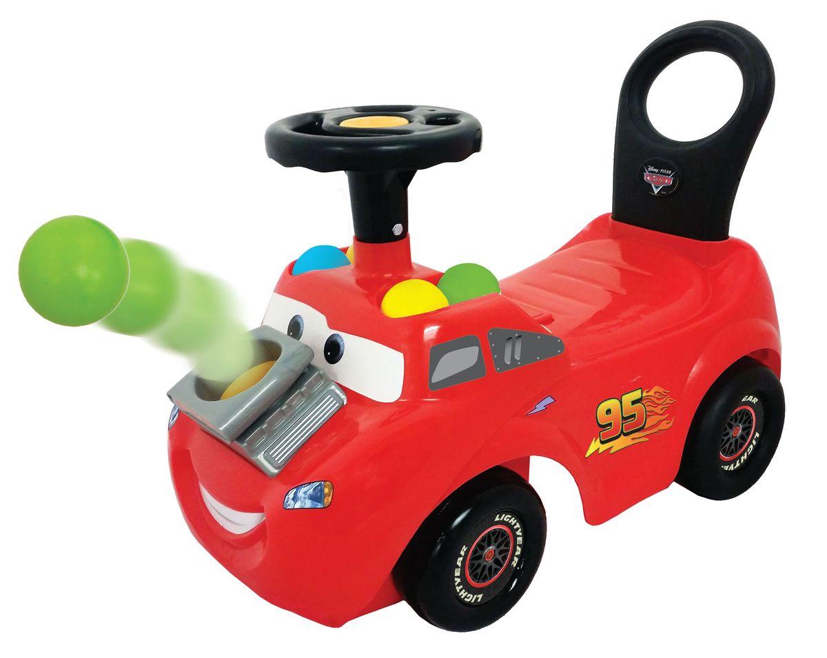 Машинка будет развивать у ребенка подвижность, активность и дарить ему веселое настроение. Каталка оформлена в красных тонах * Включает 8 цветных шаров для веселой игры