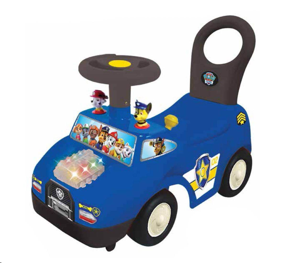 На панели управления размещены приборы, огоньки поворотов и множество функциональных кнопок. Машинка будет развивать у ребенка подвижность, активность и дарить ему веселое настроение.