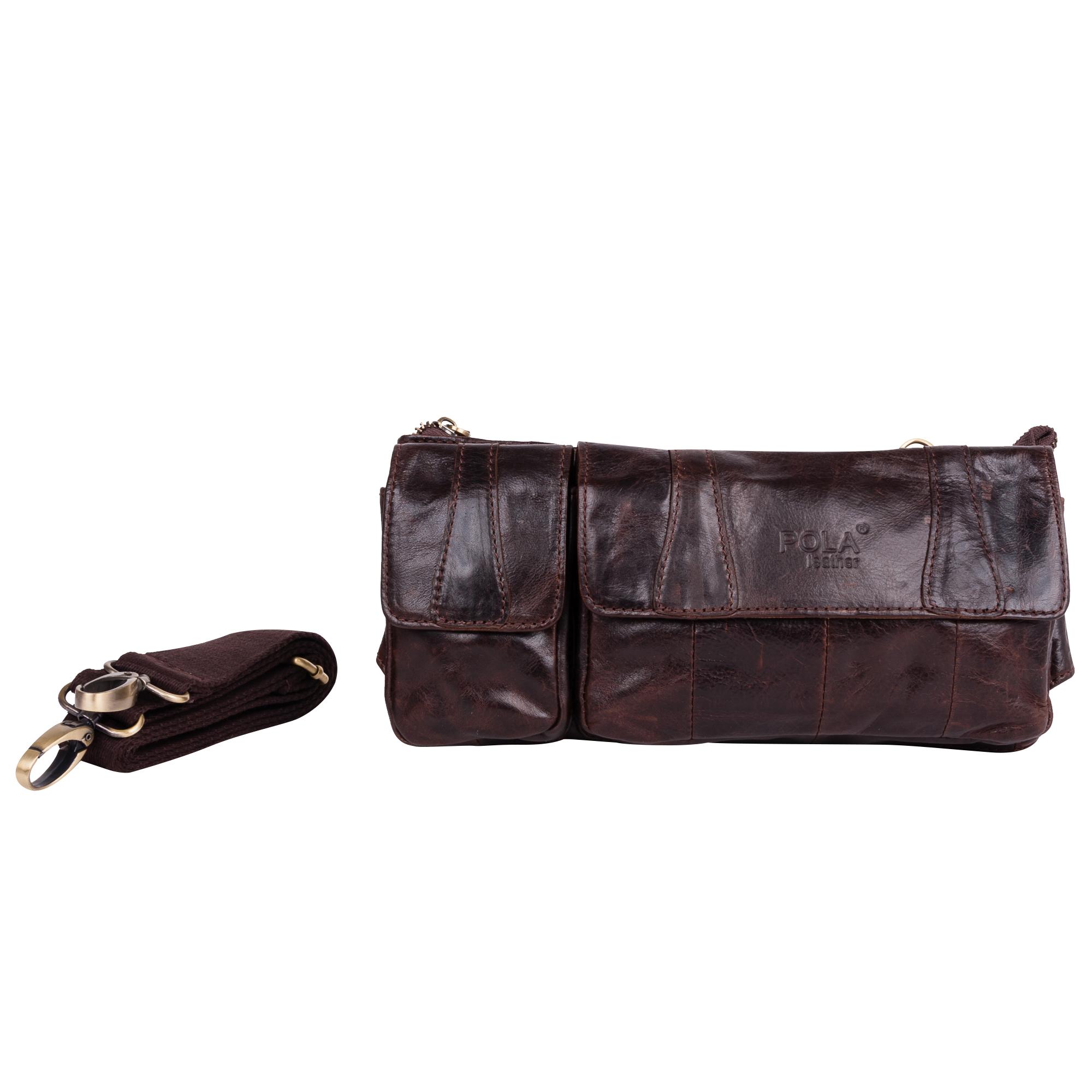 Сумка на пояс мужская Pola, цвет: коричневый. 02130213Кожаная мужская сумка Pola для ношения на поясе. Сумка состоит из одного отделения на молнии. Внутри - один врезной карман на молнии и два открытых кармана. Снаружи - два врезных кармана на молниях сзади сумки и два накладных кармана спереди сумки. Пояс регулируется, максимальный объем 140 см. Сумку можно носить как на поясе, так и на плече. В комплекте имеется плечевой ремень.