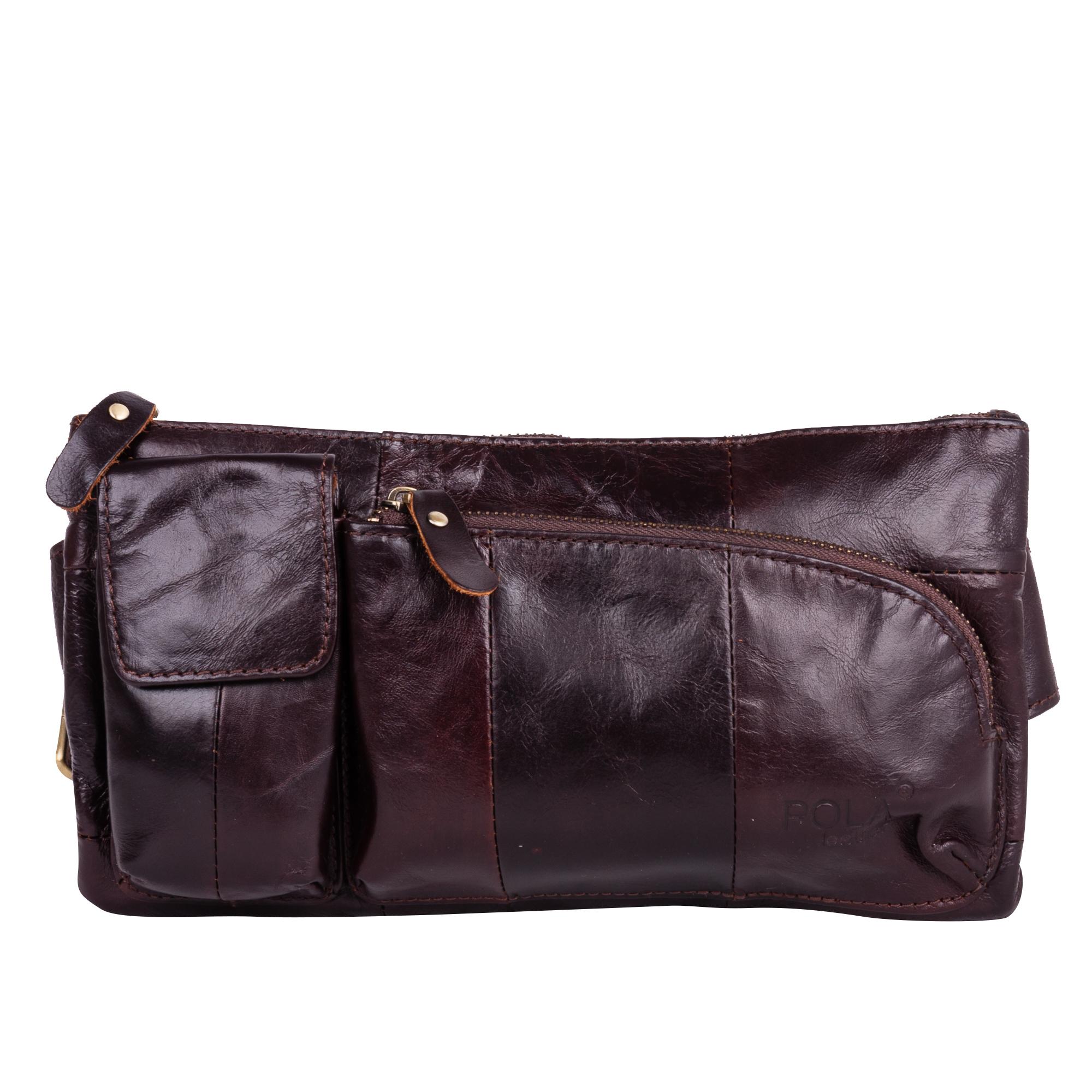 Сумка на пояс мужская Pola, цвет: коричневый. 0243Z90 blackКожаная мужская сумка Pola для ношения на поясе. Сумка состоит из одного отделения на молнии. Внутри - один карман на молнии и два открытых кармана. Снаружи - дополнительный карман на молнии сзади сумки и два накладных кармана спереди сумки. Пояс регулируется, максимальный объем 140 см.