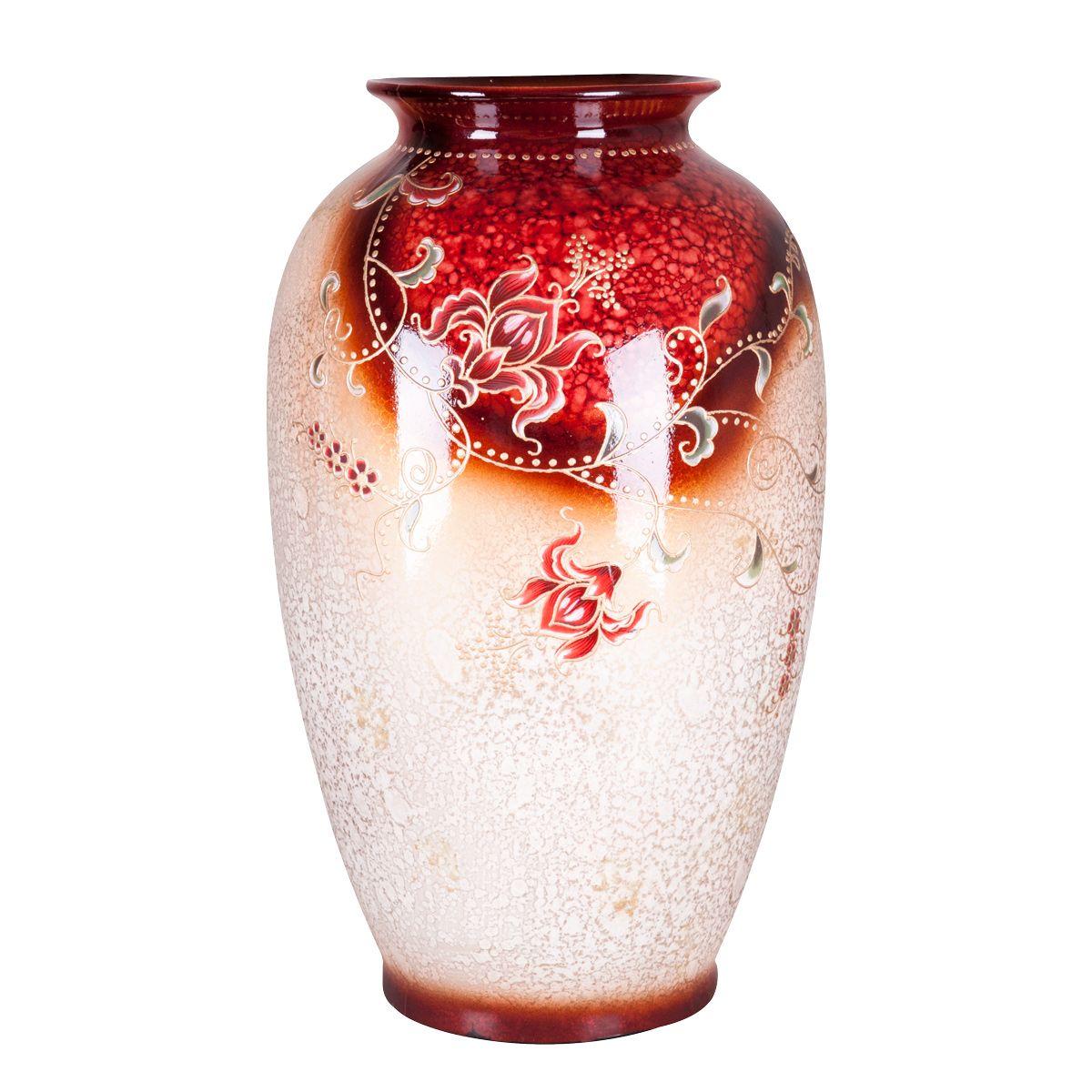 Ваза Miolla Аманда-2, высота 45 смFS-80264Декоративные вазы в наше время пользуются очень большим спросом. Любители украшать свой дом, оценят этот античный сосуд, который может стать не только красивым, но и практичным дополнением любого интерьера.Изящная ваза изготовлена из керамики. Ваза оформлена цветочным изображением. Высота вазы: 45 см.
