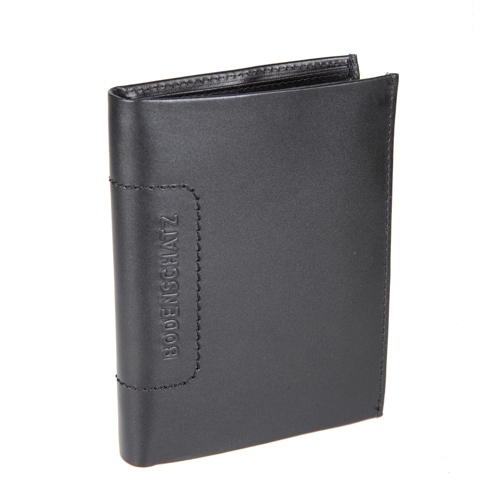 Портмоне мужское Bodenschatz, цвет: черный. 8-500495350нПортмоне мужское Bodenschatz выполнено из натуральной кожи. Модель раскладывается пополам, внутри два отдела для купюр, четыре потайных кармана, отделение для монет закрывается клапаном на кнопке, шесть кармашков для пластиковых карт (один из них сетчатый), один сетчатый карман для пропуска.
