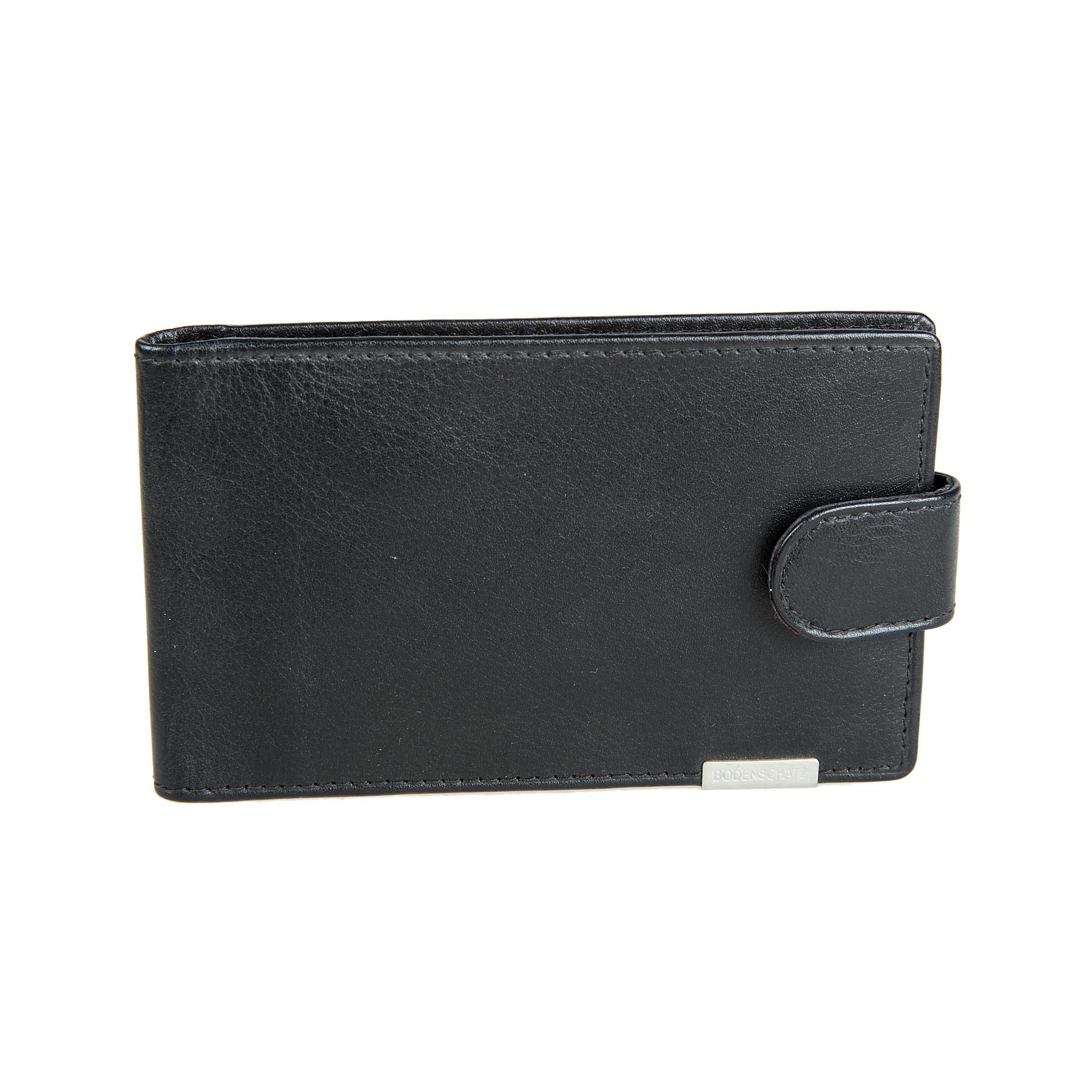 Визитница мужская Bodenschatz, цвет: черный. 8-673B16-11416Визитница мужская Bodenschatz выполнена из натуральной кожи. Модель закрывается клапаном на кнопку, внутри блок прозрачных файлов для визитных карточек, восемь листов - вмещает 16 карточек, два кармана для пластиковых карт, два потайных кармашка.