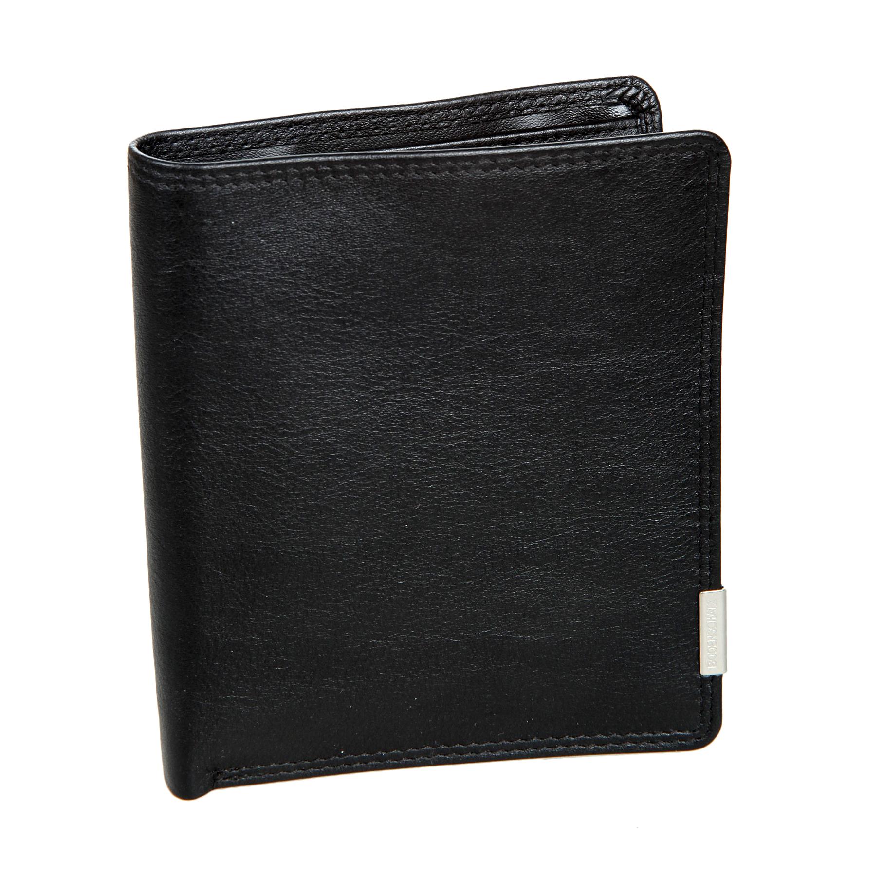 Портмоне мужское Bodenschatz, цвет: черный. 8-690BM8434-58AEПортмоне мужское Bodenschatz выполнено из натуральной кожи. Модель раскладывается пополам, внутри два отдела для купюр, в первом предусмотрен потайной карман для крупных купюр. Отделение для монет закрывается клапаном на кнопку. Имеются три кармана для документов, четыре кармашка для пластиковых карт, один из них сетчатый, съемное отделение для документов. Дополнительно: мини ручка, пилочка для ногтей.