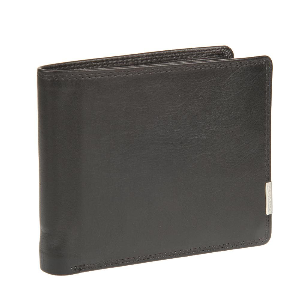 Портмоне мужское Bodenschatz, цвет: черный. 8-77777-080-06Портмоне мужское Bodenschatz выполнение из натуральной кожи. Модель раскладывается пополам, внутри один отдел для купюр, в котором предусмотрен потайной клапан для крупных купюр, карман для документов, сетчатый карман для пропуска, четыре кармашка для пластиковых карт. Дополнительно прилагается съемное мини-портмоне, внутри которого одно отделение для купюр, два отделения для пластиковых карт, одно отделение для документов, отделение для мелочи на кнопке, дополнительно внутри мини ручка имеет protect pocket - защитный карман от считывания карты.