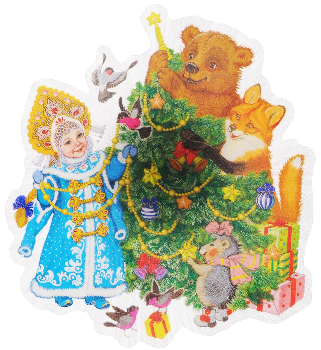 Украшение новогоднее Magic Time Снегурочка и зверята, со светодиодной подсветкой, 11,5 x 11,5 x 3 смMB860Новогоднее украшение Magic Time Снегурочка и зверята выполнено из поливинилхлорида. Украшение представляет собой пластиковую картину с изображением снегурочки и лесных зверей. С помощью присоски украшение можно прикрепить на любое понравившееся вам место. Изделие оснащено светодиодной подсветкой. В комплекте предоставлен элемент питания CR2032 (мощность 0,06 Вт, напряжение 3 В)Новогоднее украшение Magic Time Снегурочка и зверята несет в себе волшебство и красоту праздника. Создайте в своем доме атмосферу веселья и радости, с помощью игрушек, которые будут из года в год накапливать теплоту воспоминаний.Материал: поливинилхлорид.Размер: 11,5 х 11,5 х 3 см.