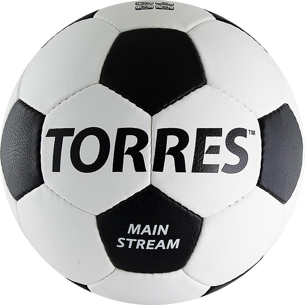 Мяч футбольный Torres Main Stream, цвет: белый, черный. Размер 528257037Футбольный мяч Torres Free Style отлично подходит для игр тренировочного уровня и для любительских игр на любых поверхностях в любых погодных условиях (при соблюдении условий эксплуатации и ухода).Надежный, хорошо зарекомендовавший себя мяч. Он состоит из 32 панелей из рифленой синтетической кожи, устойчивой к трению и износу и 4 подкладочных слоев.Камера выполнена из латекса, а покрышка из имитирующего натуральную кожу полиуретана с микрорельефной структурой.