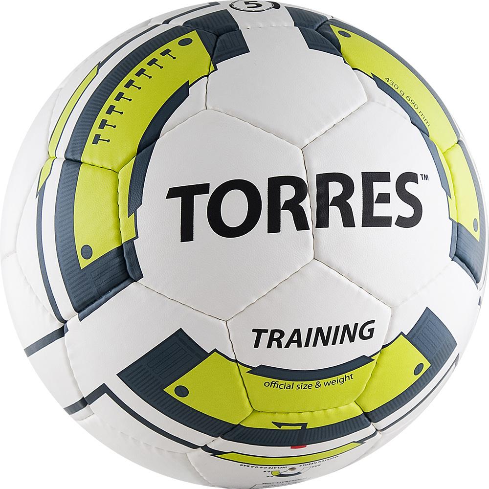Мяч футбольный Torres Training, цвет: белый, черный, желтый. Размер 5 стойка баскетбольная torres tx31297