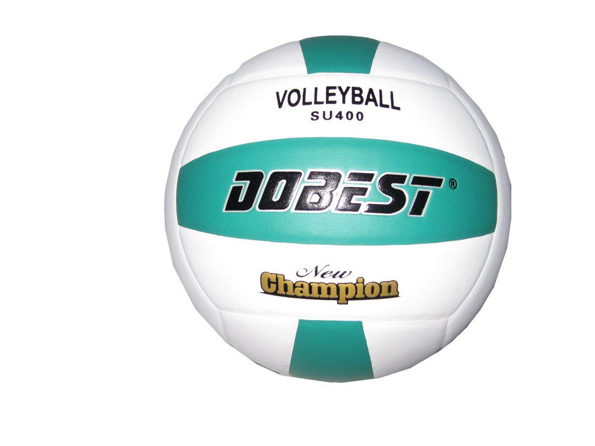 Мяч волейбольный Dobest SU400, цвет: белый, зеленый. Размер 510535Мяч клееный волейбольный DOBEST SU400 прекрасно подходит для любительских игр в зале и на улице.Он состоит из 18 панелей и 4 слоев.Изготовлен из синтетической кожи, камера выполнена из резины.