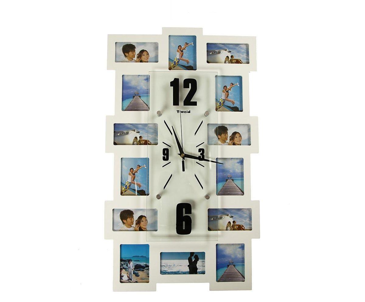 Часы настенные T-Weid, с фоторамками, цвет: белый, 35 х 60 х 5 см116-CLНастенные кварцевые часы с фоторамками - это прекрасный предмет декора, а также универсальный подарок практически по любому поводу. Корпус часов, выполнен из дерева с белым матовым покрытием и оформлен четырнадцатью фоторамками.Циферблат часов оснащен тремя фигурными стрелками: часовой, минутной и секундной. Цифры и метки нанесены черной краской на серебристом фоне на внутренней стороне стекла. Циферблат и стрелки защищены прочным стеклом, который крепится четырьмя металлическими крепежами к корпусу. На задней стенке часов расположена металлическая петелька для подвешивания и блок с часовым механизмом. Часы с фоторамками прекрасно впишутся в любой интерьер. В зависимости оттого, что вы поместите в рамки, будет меняться и стиль часов. Тип механизма: плавающий, бесшумный. Рекомендуется докупить батарейку типа АА (не входит в комплект). для 7 фото 11 х 6 см. и 7 фото 9 х 7 см.