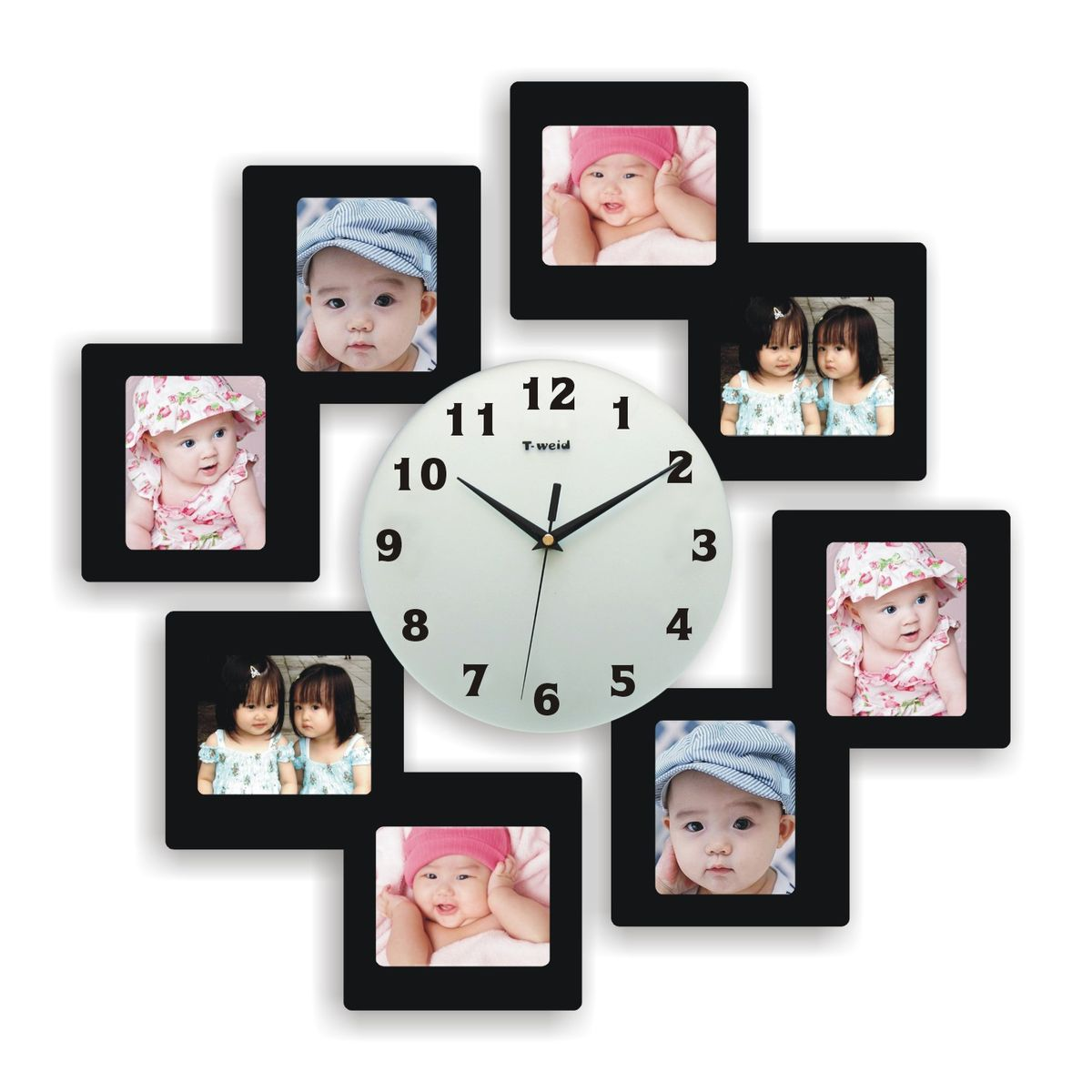Часы настенные T-Weid, с фоторамками, цвет: черный, 55 х 55 х 5 см148126Настенные кварцевые часы с фоторамками - это прекрасный предмет декора, а также универсальный подарок практически по любому поводу. Корпус часов, выполнен из дерева с черным матовым покрытием и оформлен восемью фоторамками.Циферблат часов оснащен тремя фигурными стрелками: часовой, минутной и секундной. Цифры и метки нанесены черной краской на стекле циферблата. На задней стенке часов расположена металлическая петелька для подвешивания и блок с часовым механизмом. Часы с фоторамками прекрасно впишутся в любой интерьер. В зависимости оттого, что вы поместите в рамки, будет меняться и стиль часов. Тип механизма: плавающий, бесшумный. Рекомендуется докупить батарейку типа АА (не входит в комплект). для 8 фото 11 х 9см.