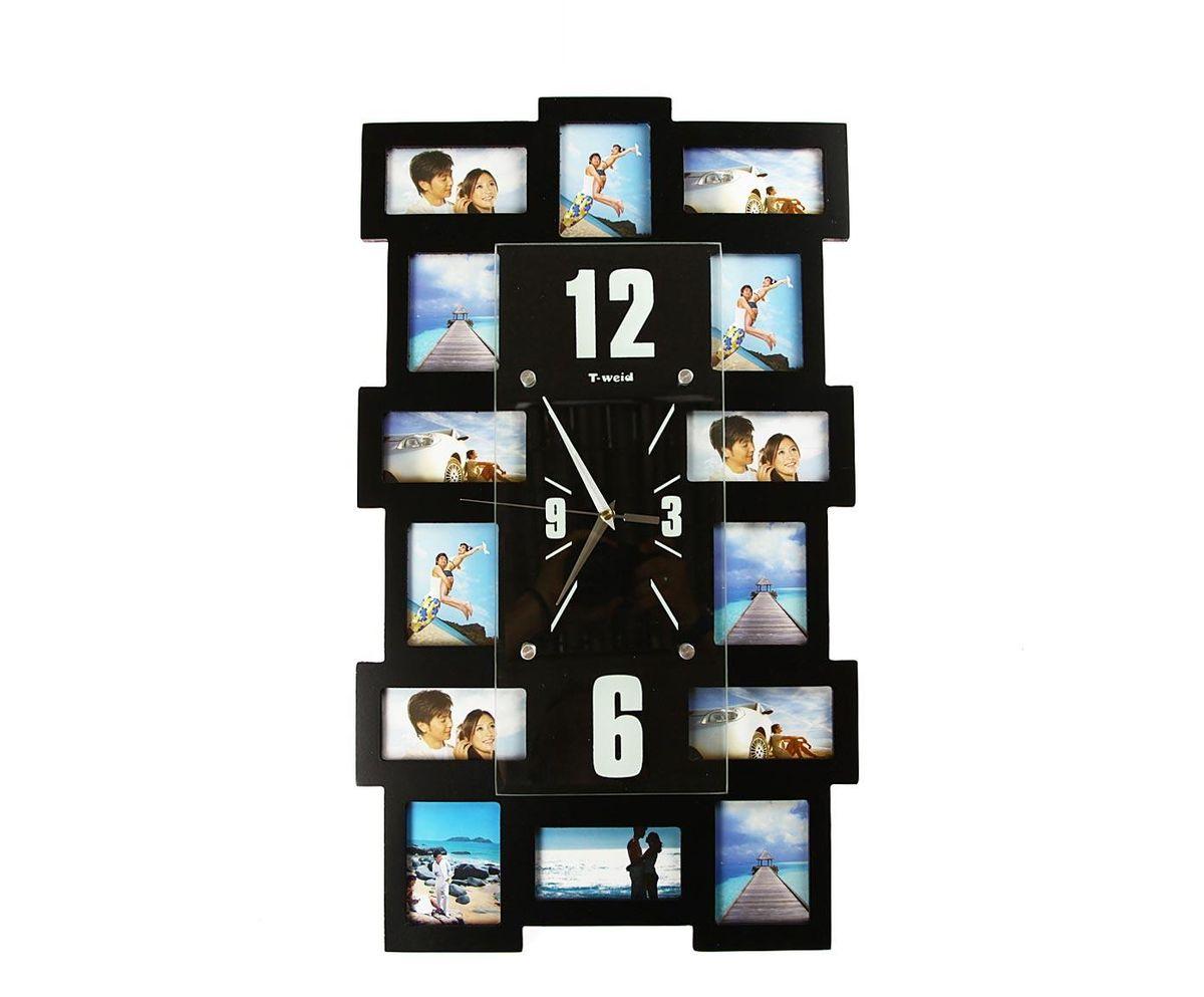 Часы настенные T-Weid, с фоторамками, цвет: черный, 35 х 60 х 5 смSC - WCD13MНастенные кварцевые часы с фоторамками - это прекрасный предмет декора, а также универсальный подарок практически по любому поводу. Корпус часов, выполнен из дерева с черным матовым покрытием и оформлен четырнадцатью фоторамками.Циферблат часов оснащен тремя фигурными стрелками: часовой, минутной и секундной. Цифры и метки нанесены черной краской на серебристом фоне на внутренней стороне стекла. Циферблат и стрелки защищены прочным стеклом, который крепится четырьмя металлическими крепежами к корпусу. На задней стенке часов расположена металлическая петелька для подвешивания и блок с часовым механизмом. Часы с фоторамками прекрасно впишутся в любой интерьер. В зависимости оттого, что вы поместите в рамки, будет меняться и стиль часов. Тип механизма: плавающий, бесшумный. Рекомендуется докупить батарейку типа АА (не входит в комплект). для 7 фото 11 х 6 см. и 7 фото 9 х 7 см.