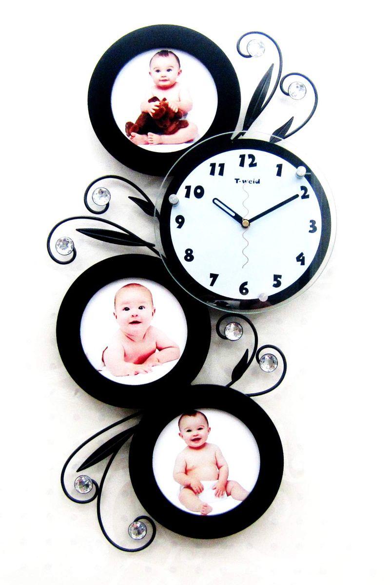 Часы настенные T-Weid, с фоторамками, цвет: черный, 32 х 59 х 5 см94672Настенные кварцевые часы с фоторамками - это прекрасный предмет декора, а также универсальный подарок практически по любому поводу. Корпус часов, выполнен из дерева с черным матовым покрытием, декорирован изображениями металлических веток с листьями и украшен стразами, так же оформлен тремя круглыми фоторамками. Циферблат часов оснащен тремя фигурными стрелками: часовой, минутной и секундной. Циферблат и стрелки защищены прочным стеклом, который крепится четырьмя металлическими крепежами к корпусу. На задней стенке часов расположена металлическая петелька для подвешивания и блок с часовым механизмом. Часы с фоторамками прекрасно впишутся в любой интерьер. В зависимости оттого, что вы поместите в рамки, будет меняться и стиль часов. Тип механизма: плавающий, бесшумный. Рекомендуется докупить батарейку типа АА (не входит в комплект). для 3 фото 13 х 13 см.