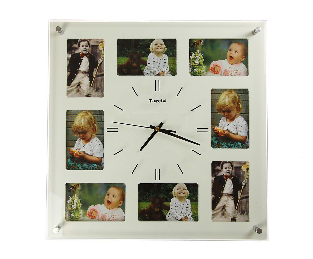 Часы настенные T-Weid, с фоторамками, цвет: белый, 40 х 40 х 5 см94672Настенные кварцевые часы с фоторамками - это прекрасный предмет декора, а также универсальный подарок практически по любому поводу. Корпус часов, выполнен из дерева с белым матовым покрытием и оформлен восемью фоторамками.Циферблат часов оснащен тремя фигурными стрелками: часовой, минутной и секундной. Цифры и метки нанесены черной краской на серебристом фоне на внутренней стороне стекла. Циферблат и стрелки защищены прочным стеклом, который крепится четырьмя металлическими крепежами к корпусу. На задней стенке часов расположена металлическая петелька для подвешивания и блок с часовым механизмом. Часы с фоторамками прекрасно впишутся в любой интерьер. В зависимости оттого, что вы поместите в рамки, будет меняться и стиль часов. Тип механизма: плавающий, бесшумный. Рекомендуется докупить батарейку типа АА (не входит в комплект). для 8 фото 9 х 12 см.