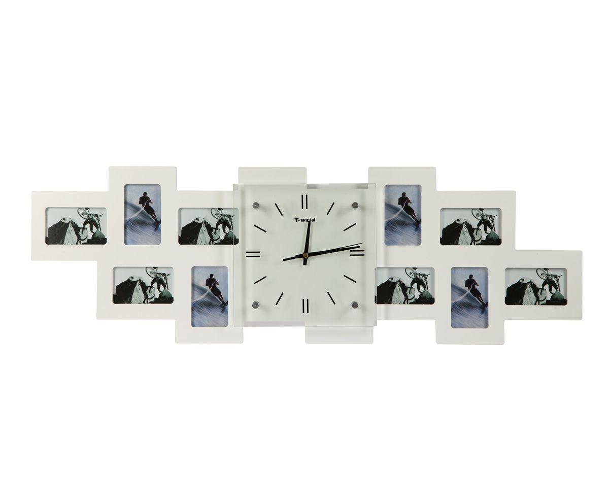 Часы настенные T-Weid, с фоторамками, цвет: белый, 26 х 80 х 5 см94672Настенные кварцевые часы с фоторамками - это прекрасный предмет декора, а также универсальный подарок практически по любому поводу. Корпус часов, выполнен из дерева с белым матовым покрытием и оформлен десятью фоторамками. Циферблат часов оснащен тремя фигурными стрелками: часовой, минутной и секундной. Цифры и метки нанесены черной краской на внутренней стороне стекла. Циферблат и стрелки защищены прочным стеклом, который крепится четырьмя металлическими крепежами к корпусу. На задней стенке часов расположена металлическая петелька для подвешивания и блок с часовым механизмом. Часы с фоторамками прекрасно впишутся в любой интерьер. В зависимости оттого, что вы поместите в рамки, будет меняться и стиль часов. Тип механизма: плавающий, бесшумный. Рекомендуется докупить батарейку типа АА (не входит в комплект). для 10 фото 6 х 10 см