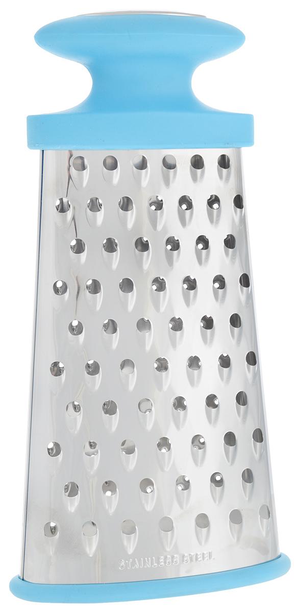 Терка многофункциональная Calve, 4 в 1, цвет: голубой, серебристый54 009312Овальная терка Calve, выполненная из высококачественной нержавеющей стали, оснащена удобной противоскользящей ручкой. Благодаря многофункциональным формам лезвия, предназначена для различных продуктов. Ее очень удобно мыть и хранить. Специальная силиконовая накладка предотвращает скольжение во время использования и защищает поверхность от повреждений. Порадуйте себя и своих близких качественным и функциональным подарком. Каждая хозяйка оценит все преимущества этой терки. Очень практичный и современный дизайн делает изделие весьма простым в эксплуатации.Высота терки: 24 см.Размер основания терки: 12,5 х 5,5 см