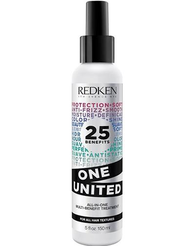 Redken One United Elixir Мультифункциональный спрей 25 в 1, 150 млLFGL025025 преимуществ Redken One United Elixir мультифункционального спрея: кондиционирует, питает, делает волосы более послушными, восстанавливает структуру волоса, увлажняет, обеспечивает легкость расчесывания, укрепляет, упрощает стрижку, основа под укладку, защищает от ломкости при расчесывании, подходит для окрашенных волос, является термозащитой, предотвращает образование секущихся концов, улучшает внешний вид кутикулы, подходит для ухода за окрашиванием ombre, защищает от внешних воздействий, добавляет гладкости, смягчает, улучшает блеск, защищает от влаги, уменьшает статику, дисциплинирует, упрощает укладку, освежает, не утяжеляет волосы.