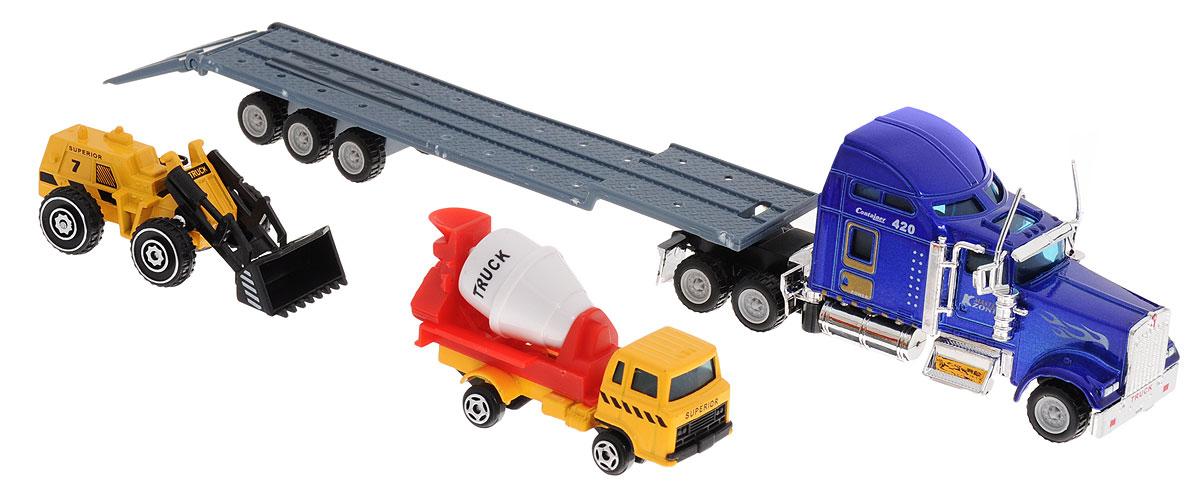 Junfa Toys Автовоз с бетономешалкой и автопогрузчиком цвет кабины синий