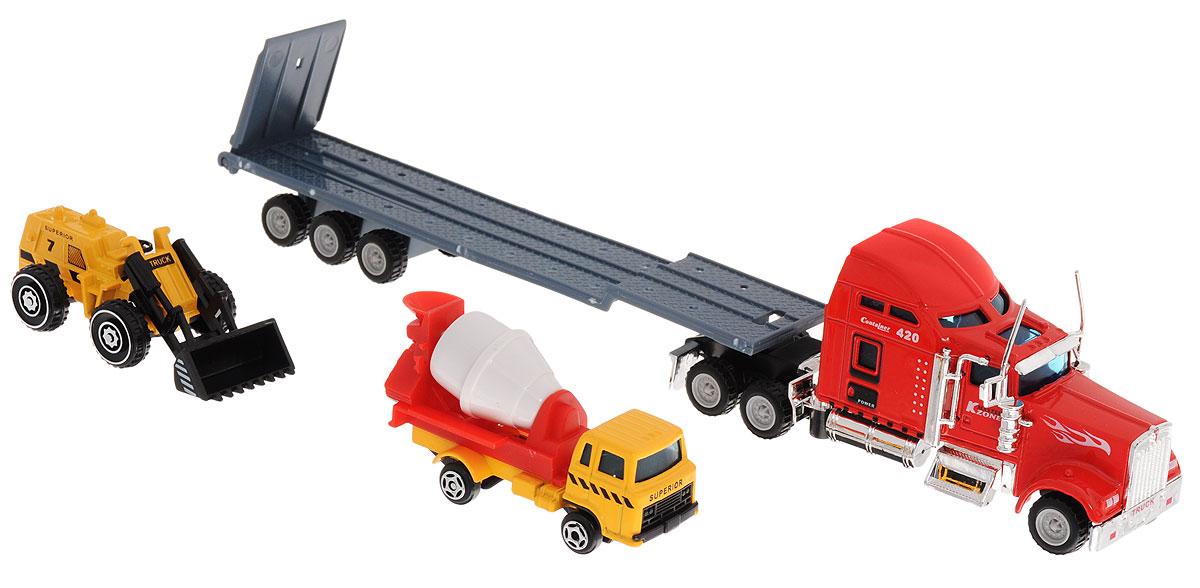 Junfa Toys Автовоз с бетономешалкой и автопогрузчиком цвет кабины красный junfa toys автовоз с экскаватором и самосвалом цвет синий