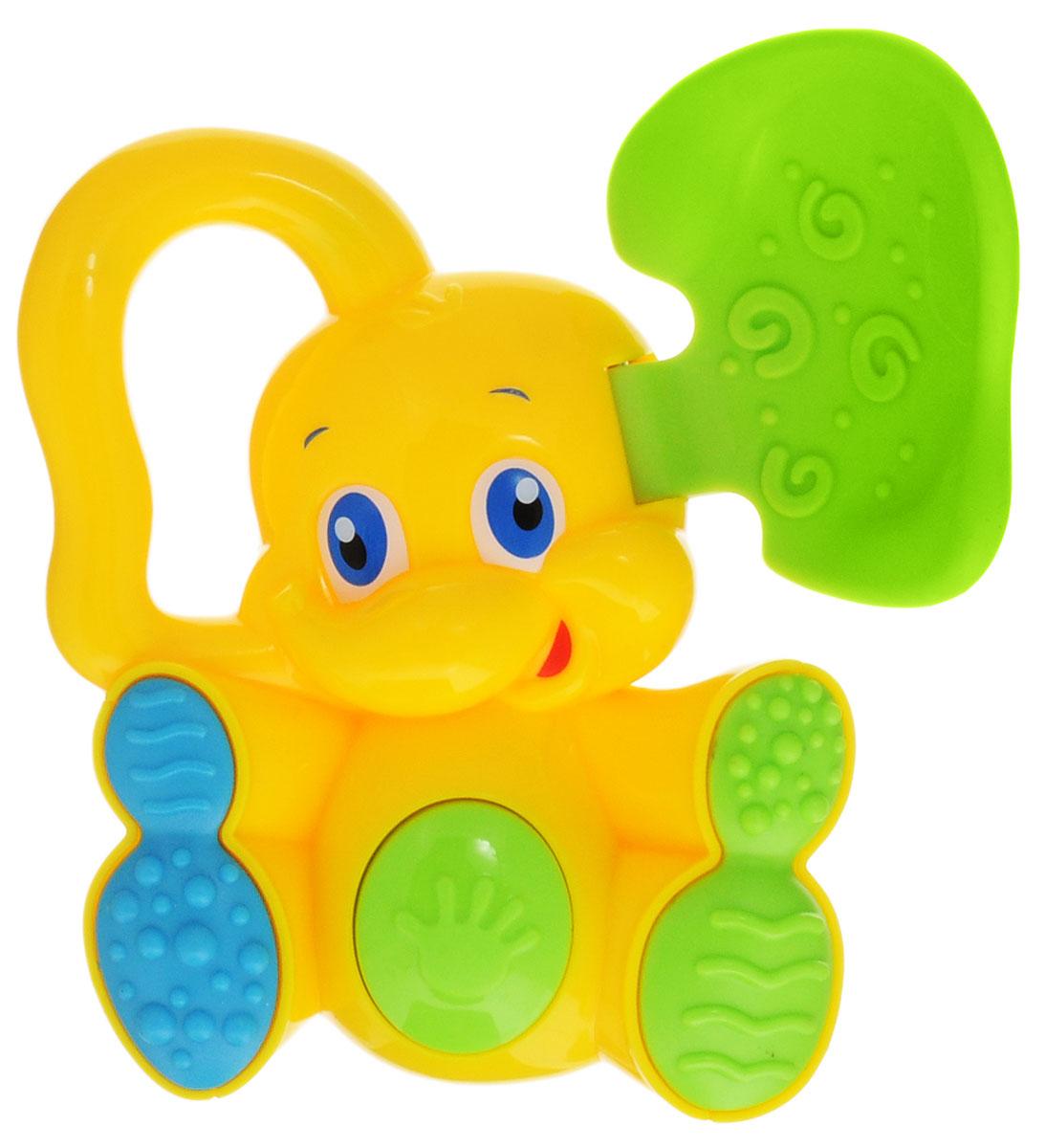 Bondibon Погремушка Слоненок с прорезывателем цвет желтый зеленый bondibon мягкая игрушка погремушка слоник