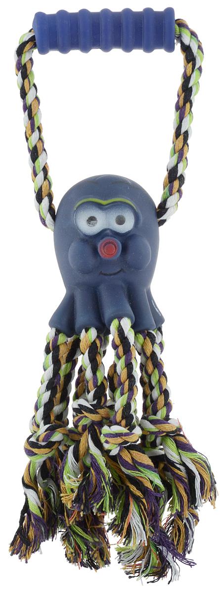 Игрушка для собак Каскад Канат. Осьминог, с пищалкой, длина 30 см игрушка для собак titbit канат с рулетом из кожи длина 35 см