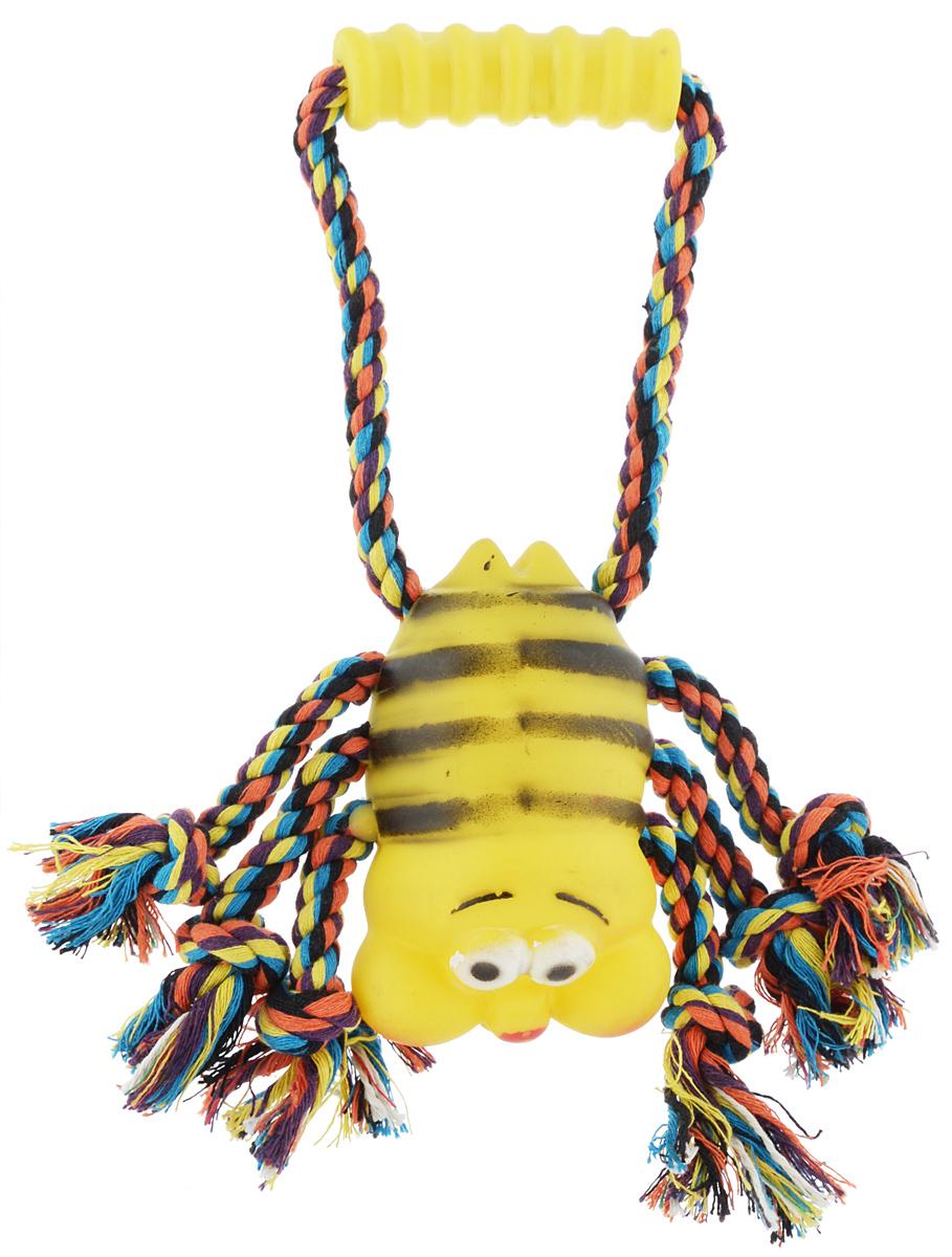 Игрушка для собак Каскад Канат. Пчелка, с пищалкой, длина 30 см игрушка для животных каскад удочка с пауком и перьями длина 58 5 см