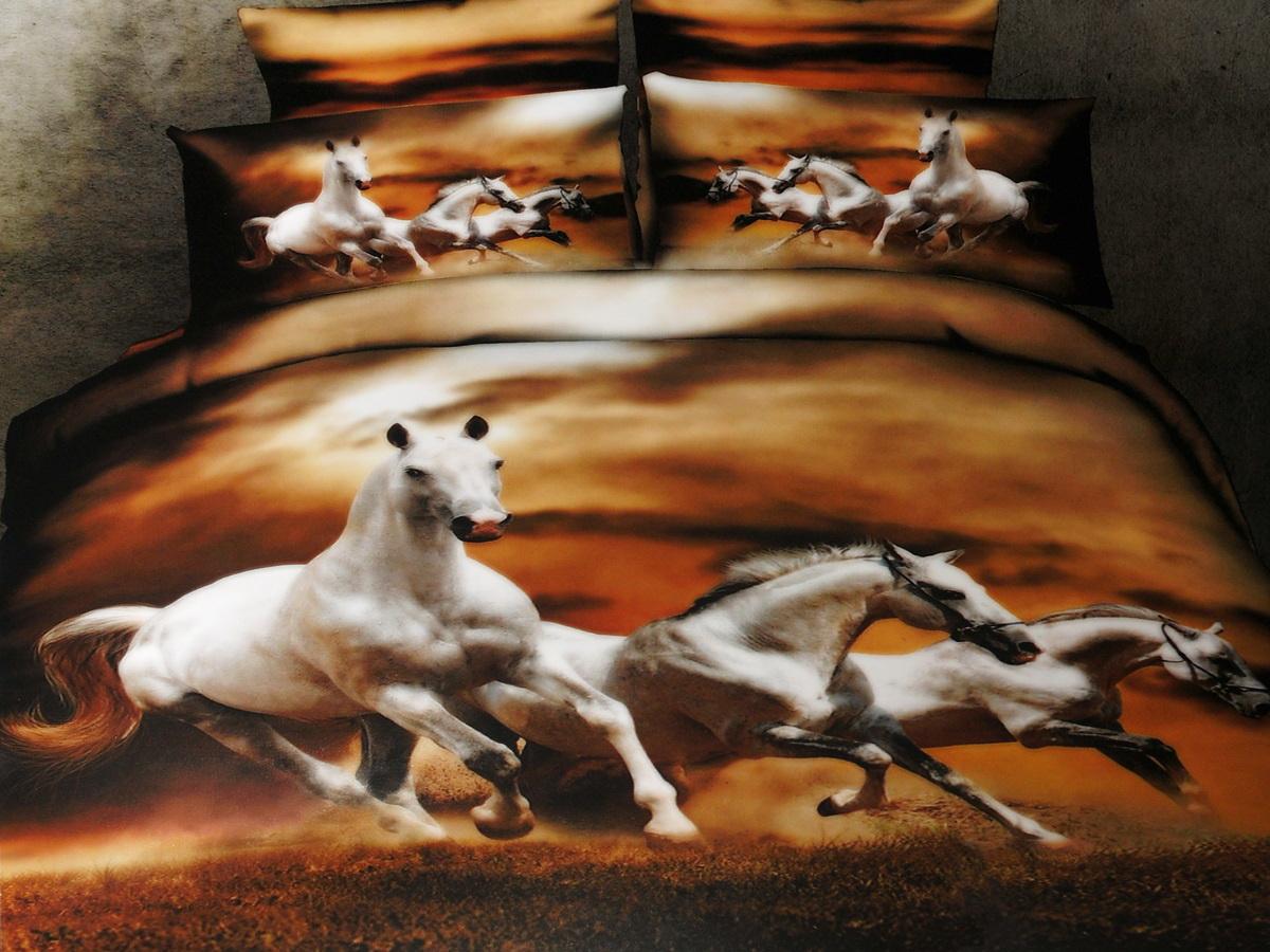 Комплект белья 3D Cleo Белые лошади, 2-спальный, наволочки 50x70391602Коллекция CLEO Сатин 3D – Погружение в мир красок! Сатин - это ткань из 100% Хлопка, сатинового переплетения, имеет гладкую, шелковистую лицевую поверхность. Сатин изготавливается из крученой хлопковой нити двойного плетения. Сатин обладает рядом преимуществ: приятен на ощупь, не электризуется и не скользит, прекрасно сохраняет форму и не мнется, отлично пропускает воздух, не садится при стирке, не утрачивает яркости красок, не вызывает раздражения. Благодаря уникальному способу нанесения рисунка на ткань создается эффект 3D, краски становятся ярче, а дизайны реалистичнее. Вы погружаетесь в уникальный мир цветов, пейзажей и фауны.Коллекция CLEO Сатин 3D – Путешествие в увлекательный мир сна!