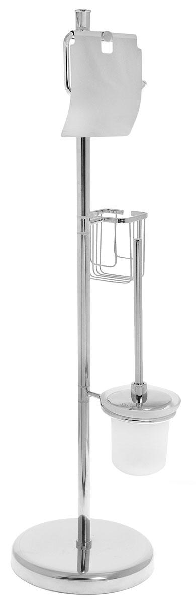 Гарнитур для туалета РМС, напольная, с ершиком, держателем для бумаги и освежителя, цвет: хром, высота 80 см282242Гарнитур для туалета РМС выполнен из высококачественной нержавеющей стали с хромированным покрытием. Гарнитур состоит из держателя для бумаги и освежителя, а также ершика с подставкой. Для высокой устойчивости у гарнитура имеется утяжеленное круглое основание. Высококачественные материалы, а так же прочные крепления позволят наслаждаться покупкой долгие годы. Такой гарнитур приятно дополнит интерьер вашей туалетной комнаты. Высота полки: 80 см. Длина ершика: 32,5 см.Размер рабочей поверхности ершика: 7 х 7 х 8 см. Размер подставки для ершика: 11,5 х 11,5 х 11 см. Размер держателя для туалетной бумаги: 13,5 х 3 х 13,5 см. Размер держателя для освежителя: 8,5 х 8 х 10 см.