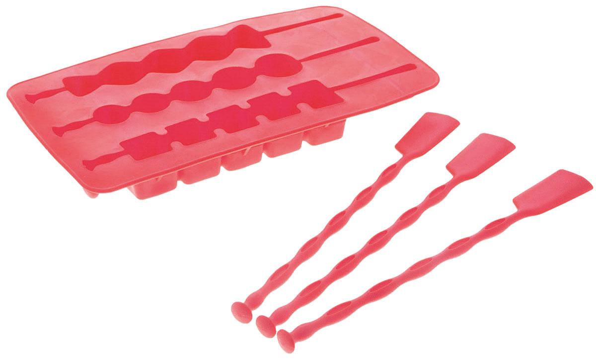 Форма для приготовления льда на палочке Fackelmann, цвет: розовый, 3 ячейки49392Форма Fackelmann выполнена из силикона и предназначена для приготовления льда на палочке. Форма содержит три ячейки. Такая форма также подойдет для приготовления шоколада на палочке, мороженого и другого. Просто залейте жидкость в форму и поставьте в морозильную камеру. Благодаря тому, что форма выполнена из силикона, лед очень легко вынимать. Характеристики:Материал: силикон. Размер формы: 11 см х 20 см х 2 см. Размер ячейки: 2 см х 13 см. Длина палочки: 18,5 см. Размер упаковки: 12 см х 23,5 см х 2 см. Артикул: 49392. УВАЖАЕМЫЕ КЛИЕНТЫ! Товар поставляется в цветовом ассортименте. Поставка осуществляется в зависимости от наличия на складе.