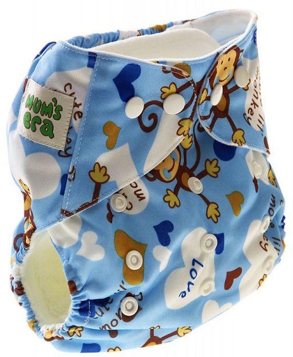 Mum's Era Многоразовый подгузник Обезьянки 2 вкладыша mum s era многоразовый подгузник цвет сиреневый 2 вкладыша