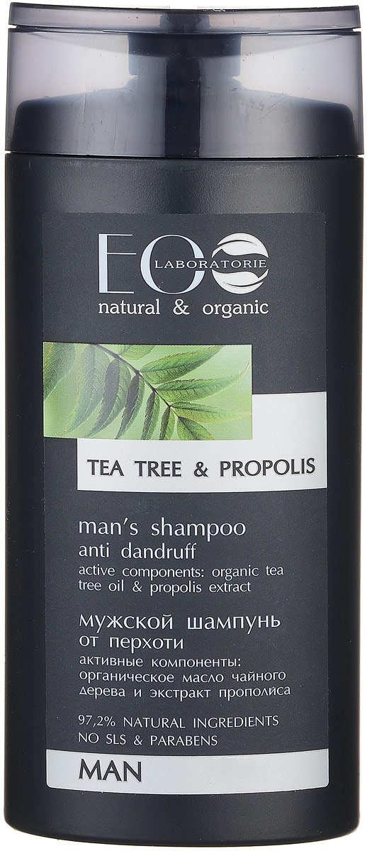 EcoLab ЭкоЛаб Шампунь для волос Против перхоти 250 млВБ001Органическое масло чайного дерева обладает противогрибковым свойством и способно бороться с перхотью, оно успешно убирает шелушение и зуд, делая волосы и кожу головы чистыми и здоровыми. Антимикробное воздействие прополиса помогает предотвратить и устранить перхоть. Растительные смолы, витамины и минеральные соли укрепляют волосы, придают им блеск и эластичность.