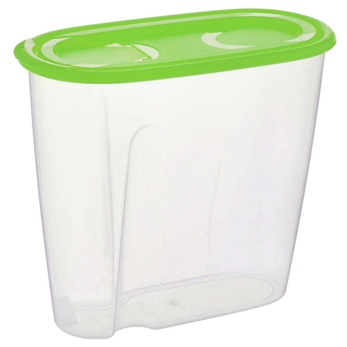 Емкость для сыпучих продуктов Idea, цвет: прозрачный, салатовый, 1,5 лSC-FD421005Емкость Idea выполнена из пищевого полипропилена и предназначена для хранения сыпучих продуктов, в том числе с ярко выраженным запахом (чай, кофе, специи). Не содержит Бисфенол A. Изделие оснащено плотно закрывающейся крышкой, благодаря которой продукты не выдыхаются и дольше остаются свежими. Овальная форма и специальные углубления помогают комфортно удерживать емкость в руке.