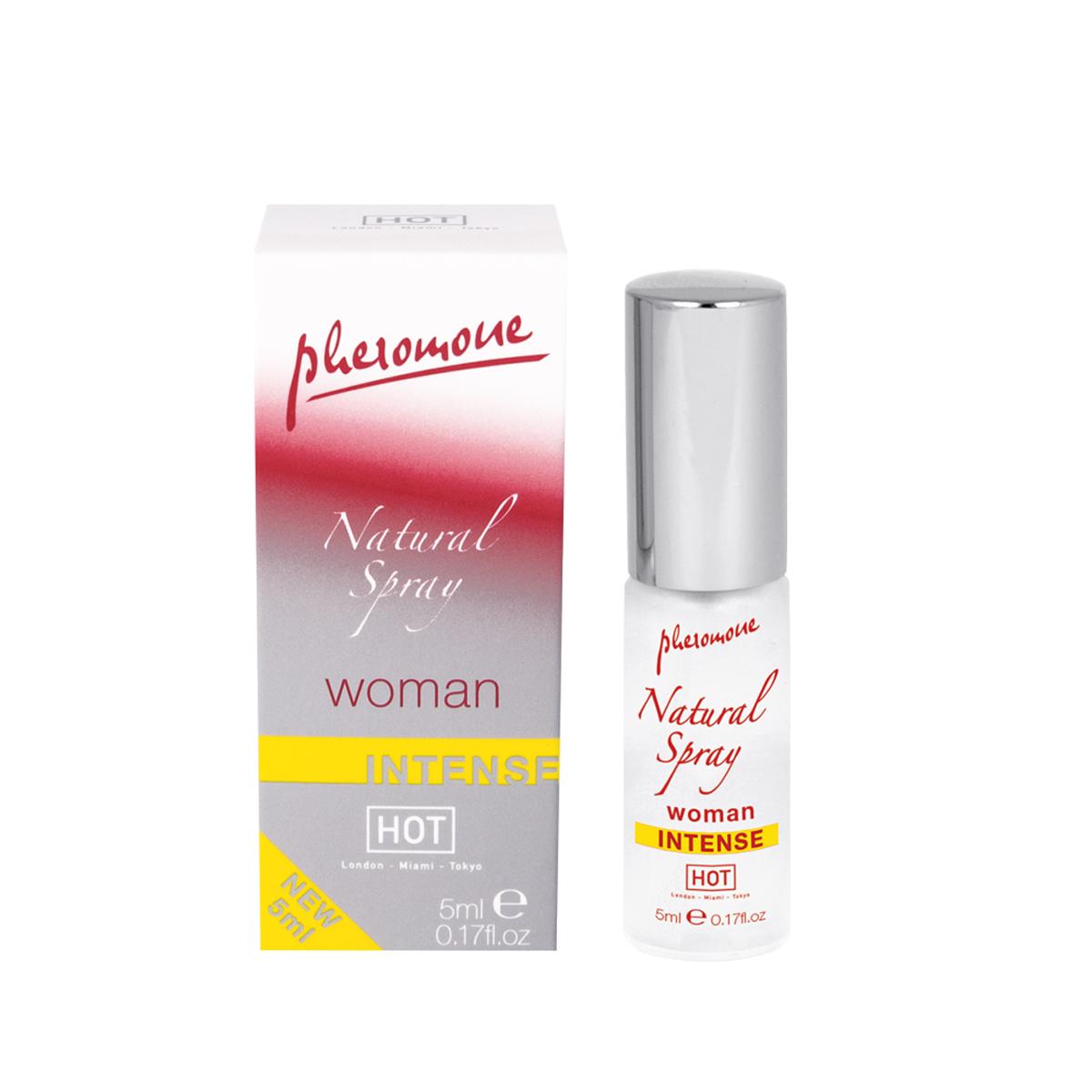 Hot Женские духи с феромонами Natural Spray Intense, 5 мл55057Особенно сильный. Мужчинам, оказавшимся поблизости, можно только позавидовать. Ведь ваш новый секрет – спрей с феромонами. Natural Spray Intense не имеет запаха и незаметно маскируется под ваш ежедневный парфюм. Но это невидимое оружие действует безотказно – отныне вы сама сексуальность!