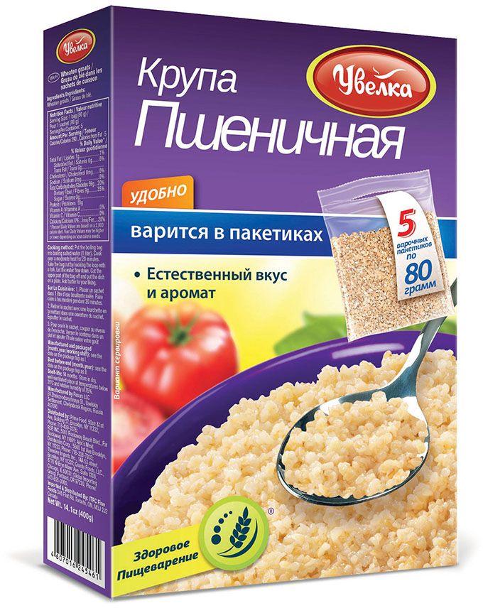 Увелка крупа пшеничная в пакетах для варки, 5 шт по 80 г