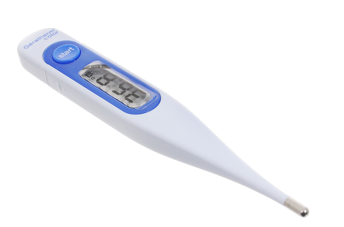 Geratherm Электронный термометр Color цвет синий GT 131AMDT-13Электронный термометр Geratherm Color предназначен для измерения температуры у ребенка. Термометр подходит для измерения температуры под мышкой, орально и ректально. Благодаря удобному дисплею и звуковому сигналу измерять температуру малышу максимально просто и легко. Электронный термометр обеспечивает точность измерения с погрешностью до 0,1°С. Предусмотрен индикатор разряда батареи. Время измерения примерно 30-60 секунд в зависимости от метода измерения. Имеется два независимых теста автоматической проверки функционирования. 100% водонепроницаемый. Память на последнее измерение. Увеличенный дисплей со встроенной линзой для слабовидящих людей, индикатор состояния элемента питания, звуковой сигнал, ударопрочный корпус, автоматическое отключение. Минимальное энергопотребление - срок службы батарейки свыше 3-х лет при 10-ти измерениях в день-Диапазон измерений 32 - 43,9°С. Не содержит ртуть.Измерение температуры электронным термометром имеет особенности по сравнению с ртутным термометром и требует точного соблюдения инструкции. Термометр упакован в пластиковый футляр. В комплект входит инструкция по эксплуатации термометра на русском языке. Для работы термометра необходима 1 батарейка напряжением 1,5V типа LR41 (входит в комплект).