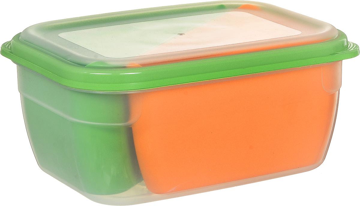Контейнер-менажница для СВЧ Полимербыт, прямоугольный, цвет: оранжевый, зеленый, 1,8 л623160Пластиковый контейнер-менажница Полимербыт станет отличным помощником современной хозяйки. Две большие емкости удобной формы позволяют одновременно готовить или разогревать разные виды продуктов в микроволновой печи без смешивания. При использовании такого контейнера очевидна экономия времени, а высокое качество современной пластмассы обеспечивает качество приготовления еды и безопасность использования контейнера. Объем контейнера-менажницы: 1,8 л.Размер контейнера-менажницы:19 х 14,5 х 9 см.Размер треугольной емкости: 18,5 х 9,5 х 8,5 см.