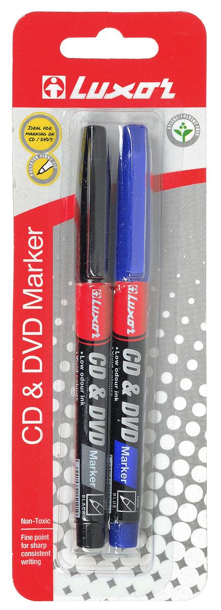 Luxor Набор маркеров CD/DVD 2 штA8322EU2_A8327Набор маркеров Luxor CD/DVD подойдет для письма и надписей на разных дисках, на различных видах бумаги и станет незаменимым атрибутом для работы.В набор входят 2 маркера синего и черного цвета с толщиной линии 1 мм.Маркеры с износоустойчивыми наконечниками и перманентными чернилами прослужат долгое время в использовании.