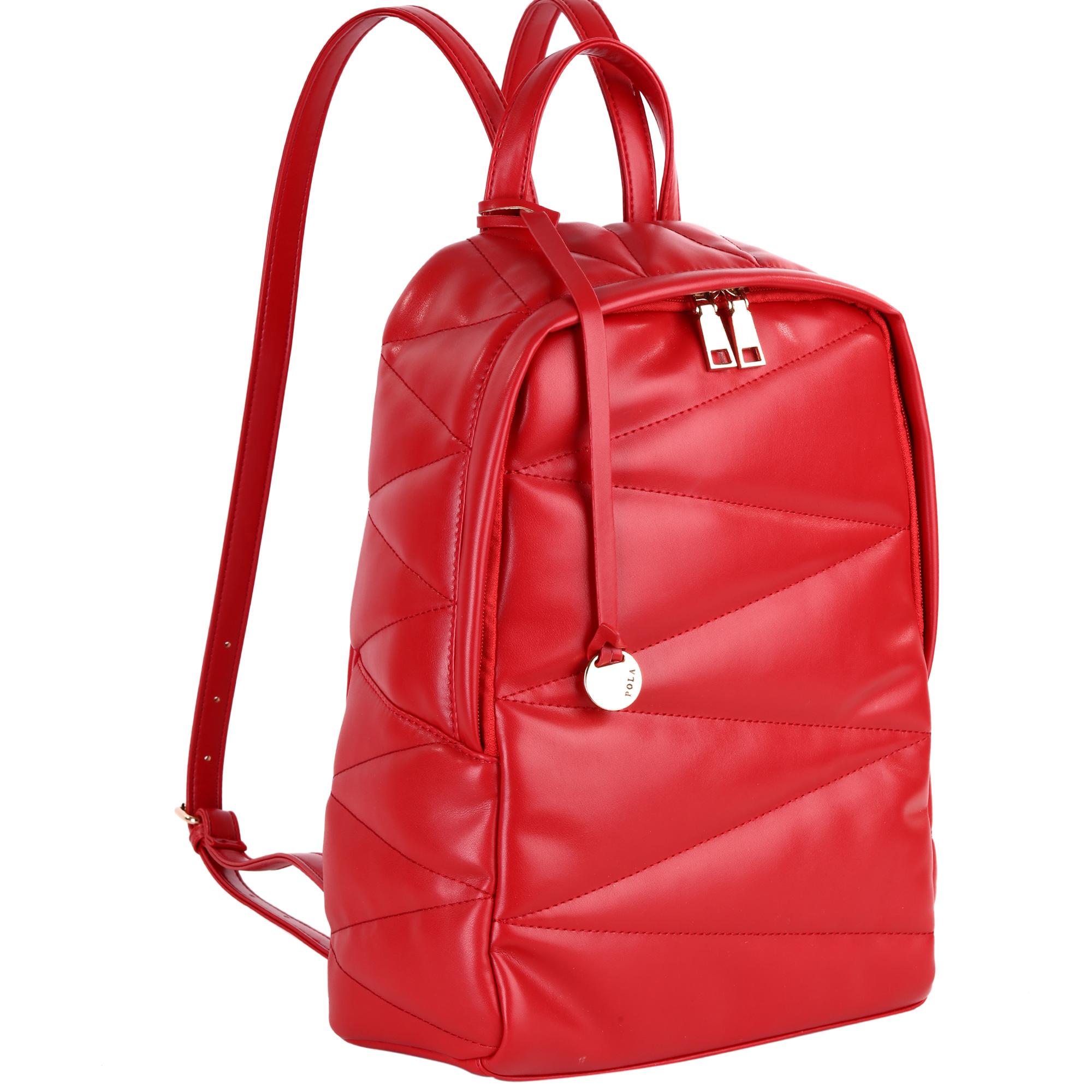 Рюкзак женский Pola, цвет: красный. 4411S76245Женский рюкзак Pola очень практичен в повседневном использовании. Основное отделение закрывается на молнию. Внутри - два кармана на молнии и два открытых кармашка. На задней стенке расположен карман на молнии. Лямки регулируются по длине. Сверху имеется ручка для переноски. Цвет фурнитуры - золото. Эта универсальная модель идеально подойдет как для путешествий, так и для учебы или работы, а так же позволит вам взять с собой все самое необходимое.