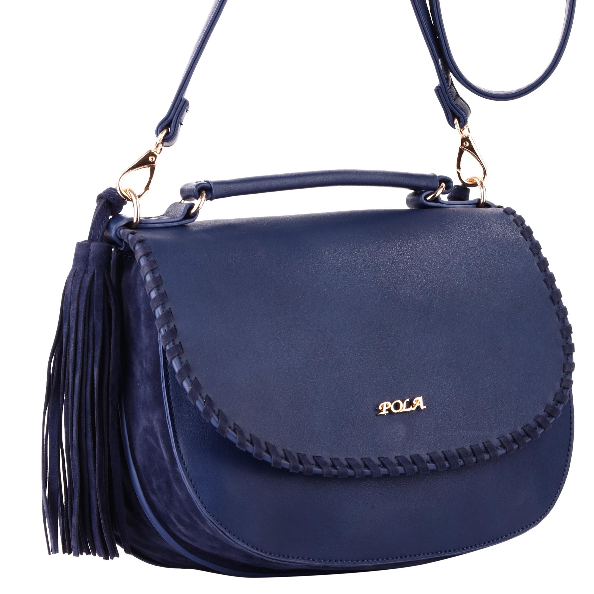 Сумка женская Pola, цвет: синий. 441410130-11Женская сумка Pola выполнена из экокожи. Состоит из двух независимых отделений, каждое из которых закрывается клапаном на магнитной кнопке. Клапаны расположены на внешнюю и внутреннюю стороны сумки. Внутри два открытых кармана и один небольшой карман на молнии. В комплекте съемный плечевой ремень, регулируемый по длине, максимальная высота 66 см. Высота ручки - 5 см. По бокам сумка украшена крупными кистями. Цвет фурнитуры - золото.