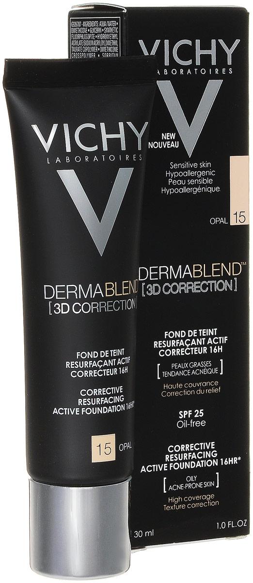 Vichy Dermablend Тональный крем 3D, тон №15 опаловый, 30 млM9005600Пластичная текстура выравнивает поверхность кожи лица, заполняя углубления и сглаживая видимые уплотнения. Подходит для чувствительной кожи. Сразу после нанесения тональной основы акне полностью скрыты без видимых границ нанесения. Маскирует акне и ухаживает за проблемной кожей и обеспечивает 16-часовой маскирующий эффект. SPF 25Меньше несовершенств + коррекция микрорельефа.3D коррекция:1. Эффективно маскирует акне и постакне, благодаря рекордному содержанию маскирующих пигментов.2. Свежая и легкая текстура выравнивает поверхность кожи лица, заполняя углубления и сглаживает видимые уплотнения.3. Обогащенная салициловой кислотой и эперулином, тональная основа заметно сокращает несовершенства.
