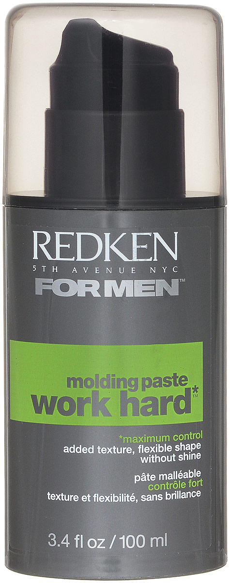 Redken For Men Work Hard Паста для сильной фиксации волос, 100 млMP59.4DПластичная текстура позволяет вам создавать, конструировать и менять прическу. Этой гибкой пастой легко пользоваться и создавать любые формы, фиксируя их надолго.