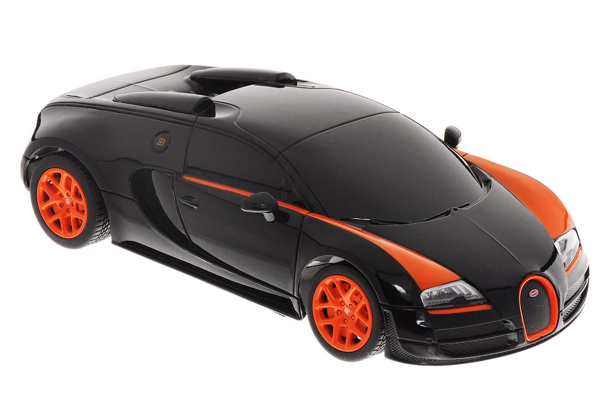 Rastar Радиоуправляемая модель Bugatti Veyron 16.4 Grand Sport Vitesse цвет черный оранжевый масштаб 1:24
