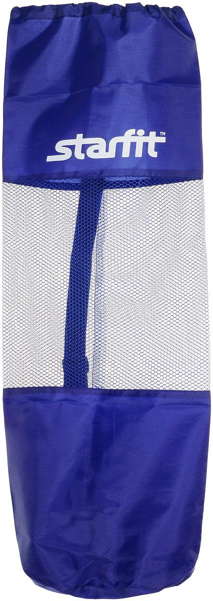 Cумка спортивная для ковриков Starfit FA-301, цвет: синий, 24,5 х 66 смХот ШейперсStar Fit FA-301 - это сумка, предназначенная для комфортной транспортировки ковриков для йоги и фитнеса, а так же компактного хранения их. Она выполнена из ПВХ и текстиля Сумка имеет удобный ремень через плечо, которыйрегулируется по длине. Вверху чехол затягивается веревкой, клипса фиксирует плотность закрытия.