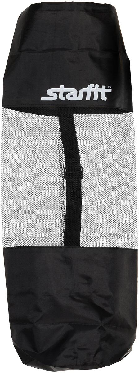 Cумка спортивная для ковриков Starfit FA-301, цвет: черный, 30 х 70 смMCI54145_WhiteStar Fit FA-301- это сумка,предназначенная для комфортной транспортировки ковриков для йоги и фитнеса, а так же компактного хранения их. Она выполнена из ПВХ и текстиля Сумка имеет удобный ремень через плечо, который регулируется по длине.Вверху чехол затягивается веревкой, клипса фиксирует плотность закрытия.