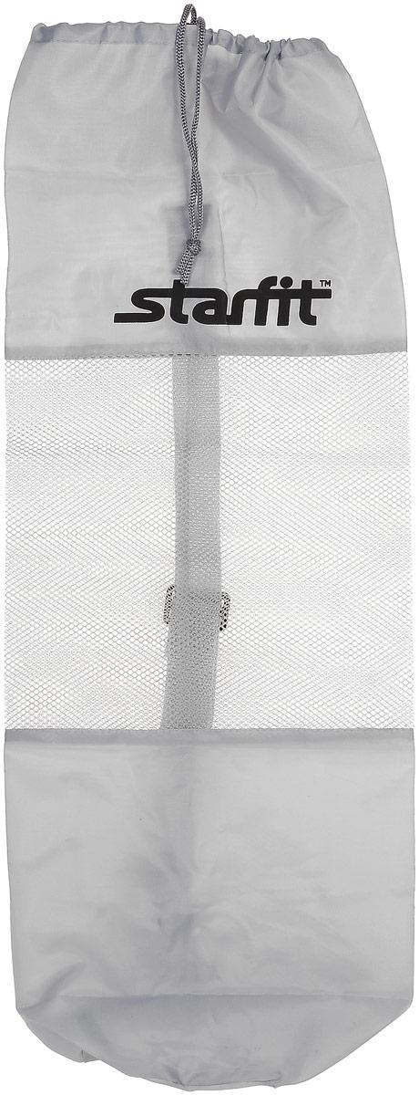 Cумка спортивная для ковриков Starfit FA-301, цвет: серый, 24,5 х 66 смУТ-00008960Star Fit FA-301 - это сумка, предназначенная для комфортной транспортировки ковриков для йоги и фитнеса, а так же компактного хранения их. Она выполнена из ПВХ и текстиля Сумка имеет удобный ремень через плечо, которыйрегулируется по длине. Вверху чехол затягивается веревкой, клипса фиксирует плотность закрытия.